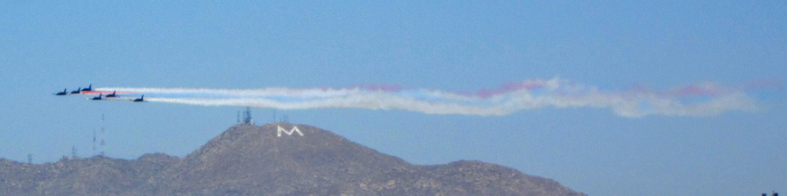 Patriots Jets Team flying by the Moreno Valley M on Box Mountain.