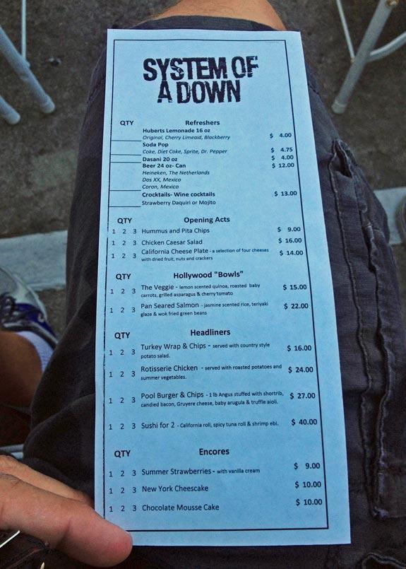 Hollywood Bowl Menu - SOAD, 07/29/13