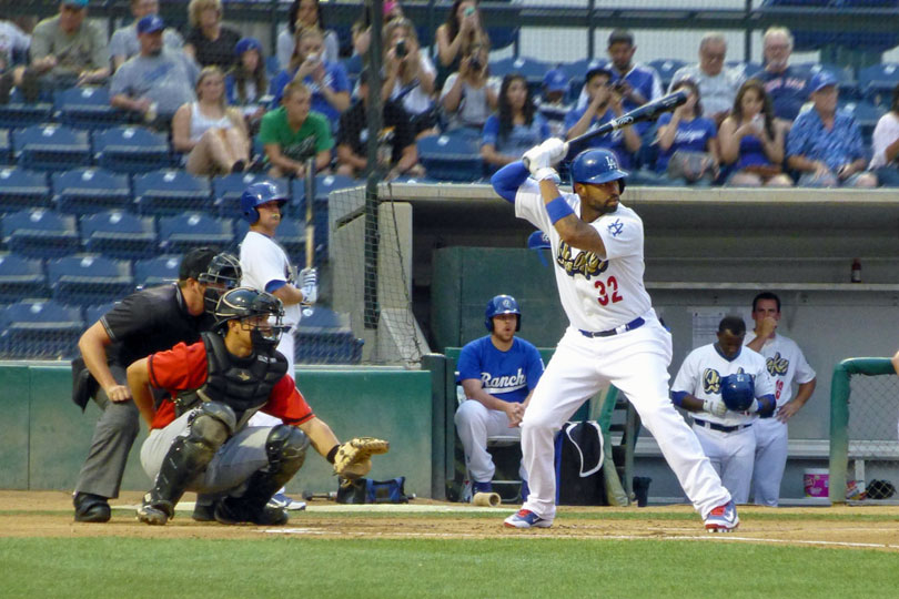 Matt Kemp's first at-bat for the Quakes on 08/29/13