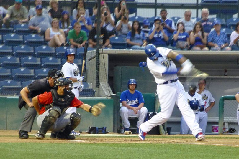 Matt Kemp's first at-bat for the Quakes on 08/29/13 - ground out