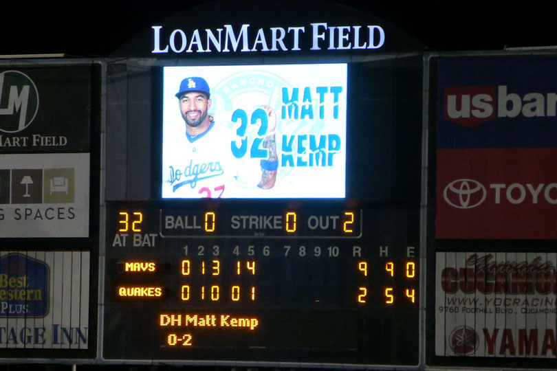 Matt Kemp batting DH for the Quakes