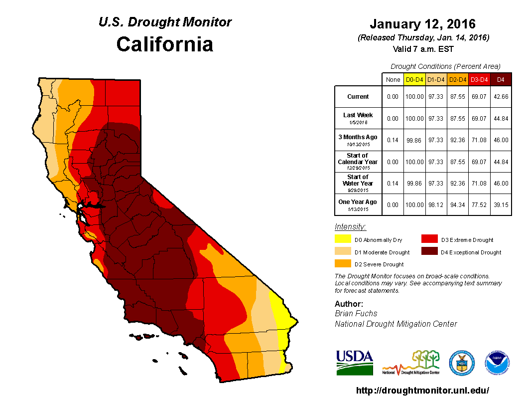 U.S. Drought Monitor - California - Jan 12, 2016 - http://droughtmonitor.unl.edu/