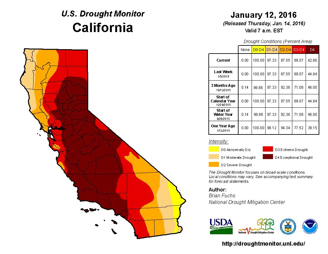 U.S. Drought Monitor - California - Jan 12, 2016 - http://droughtmonitor.unl.edu/