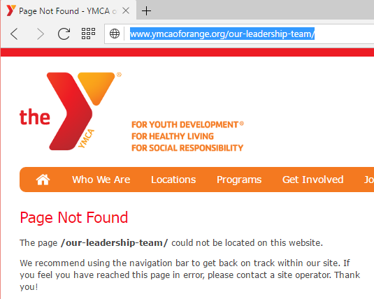 YMCA of Orange Deleted Leadership Page