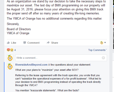 YMCA of Orange - Questions Deleted about BMX