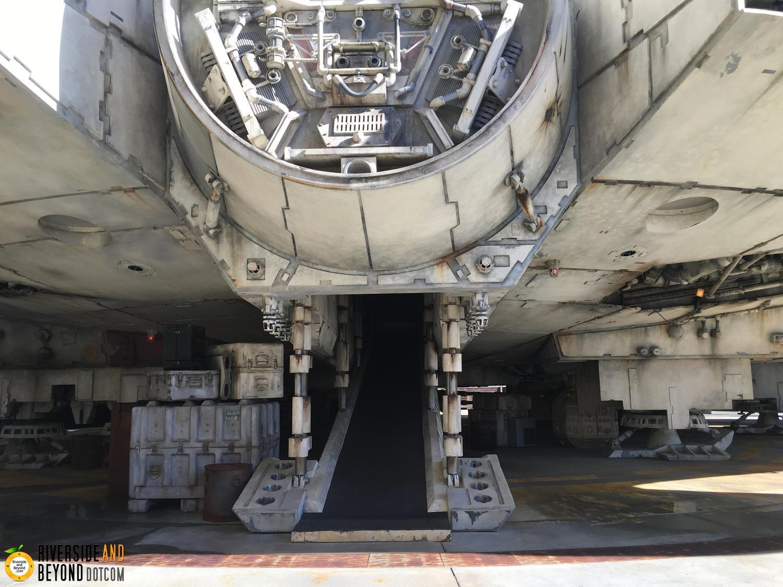 The Millennium Falcon in Star Wars land at Disneyland.